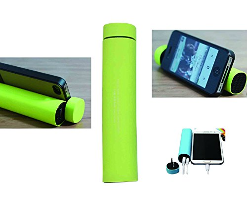 Mfine Portable Power Bank Unique Phone Stand With Mini Speaker For Iphone, Ipod, Samsung, Mobile Phones & More Devices (Green)