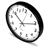 Large Indoor/Outdoor Universal Wall Clock Black - Non-ticking & Silent Modern Quartz Design Decorative 12-Inch Wall Clock - By Utopia Home
