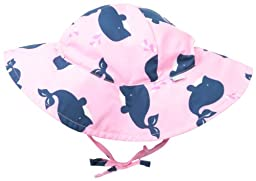 i play. Baby-Girls Infant Modern Brim Sun Protection Hat, Light Pink Whale, New Born/0-6 Months