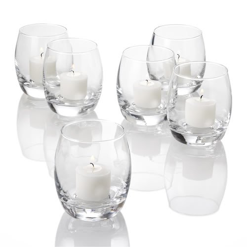 Set of 48 Grande Hurricane Votive Candle Holders, Clear Glass