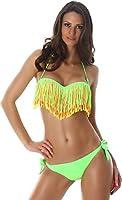 Halter bikini à franges colorées bonnets rembourrés - Bandeau de la femme