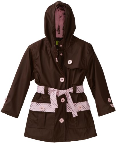 Western Chief Little Girls' Frenchy French Too Raincoat, Brown/Pink, 4T front-926349