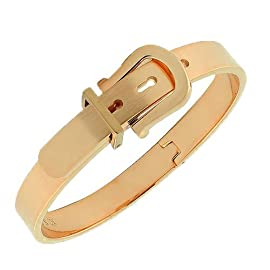 Stainless Steel Rose Gold Tone Belt Buckle Handcuff Womens Bangle Bracelet