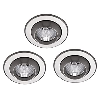 pack of 3 low voltage mr16 recessed brushed chrome ceiling eyeball downligh. Black Bedroom Furniture Sets. Home Design Ideas