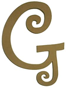 Amazoncom unfinished wooden letter g curlz 243939 large for Large wooden letters amazon