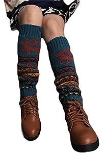 1 Pairs Women Girls Dots Wool Knee High Turn Up Rib Colorful Winter Socks by asc