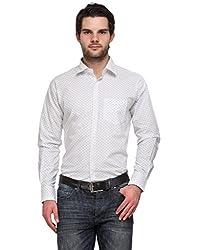 Ausy White Cotton Blend Mens's Shirt