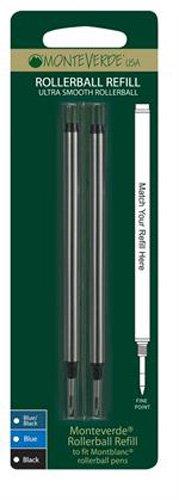 Monteverde Recharge pour Rollerball compatible Mont Blanc Encre noire Pointe fine Lot de 4 (Import Royaume Uni)