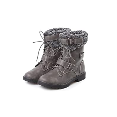 Elegant Gray Distressed Lace Up Scallop Combat Womens Flat Mid Calf Boots