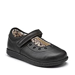 Clarks Girls\' Jenna Suzy Black Leather 5T Toddler