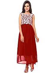 KMOZI Designer RED Colour Georgette Embroidered Kurti(Semi Stitched)