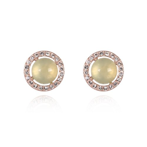 Fashion Plaza 18K Gold Plated Cute Round Stud Earring with Swarovski Elements Crystals Light Lemon Color E412