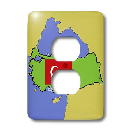 Lsp_45204_6 777Images Flags And Maps - Map And Flag Of Turkey With Republic Of Turkey Printed In Both English And Turkish - Light Switch Covers - 2 Plug Outlet Cover