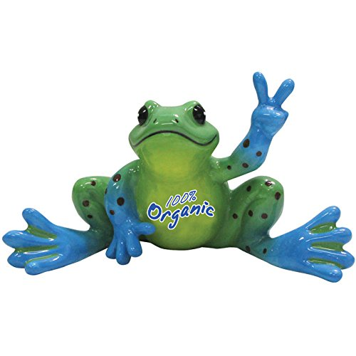 blue-and-green-spots-organic-logo-frog-figurine-waving-peace-sign-by-wl