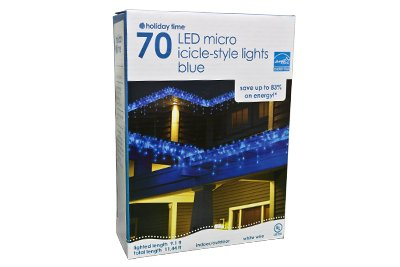 70 Led Icicle Light Set - Blue W/ White Wire