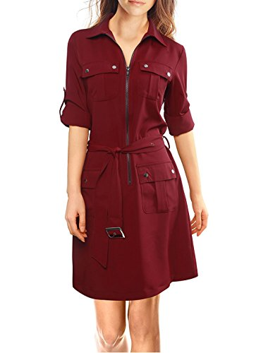 Allegra K Women Roll Up Sleeves Belted Shirt Dress Red M