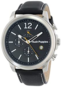 Hush Puppies Orbz Men's Automatic Watch with Black Dial Analogue Display and Black Leather Strap HP.6065M.2.2502
