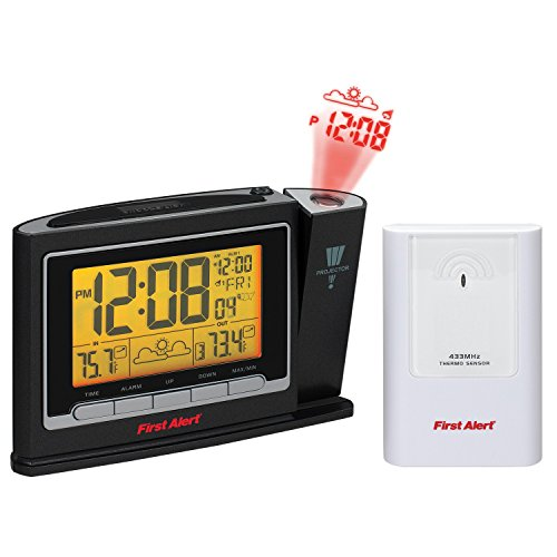 First Alert Radio Controlled Weather Station Projection Clock, Black/White