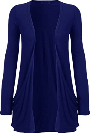 Crazy Girls Womens Boyfriend Pocket Cardigan Jersey Shrug (M/L-US10/12, Royal Blue)