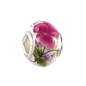 Pandora Style Charm Bead (Z62) Murano / Lampwork Style Glass (14mm x 10mm) (fits Troll too) ~ Solid Single Core Design