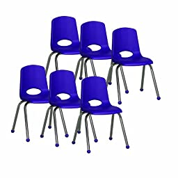 ECR4Kids School Stack Chair with Chrome Legs/ Ball Glides, 16\