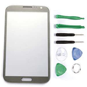 Outer Screen Glass Lens For Samsung Galaxy Note 2 GT-N7100 Gray + Free Tools