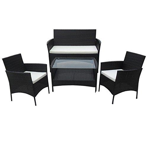POLY RATTAN Lounge Gartenset SCHWARZ Sofa Garnitur Polyrattan Gartenmöbel Neu bestellen