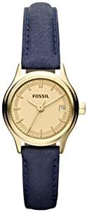 Fossil Women's Archival ES3170 Blue Leather Quartz Watch with Gold Dial