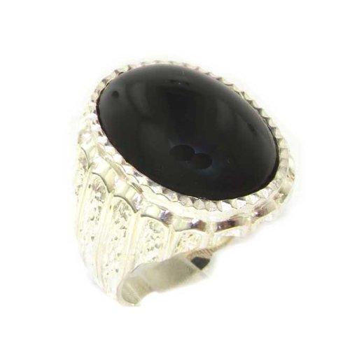 英国製 925 シルバー 天然 ブラック オニキス メンズ カボション オーバル シグネット リング 指輪 サイズ 20.5 各種サイズあり