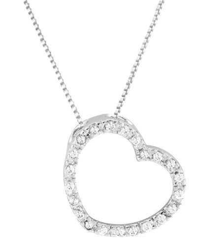 Sterling Silver 925 Clear CZ Angeled Open Heart Pendant with 18