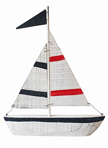 Quay Traders Giant Wooden Handpainted Yacht - 4x33x40cm - Miniature Fishing