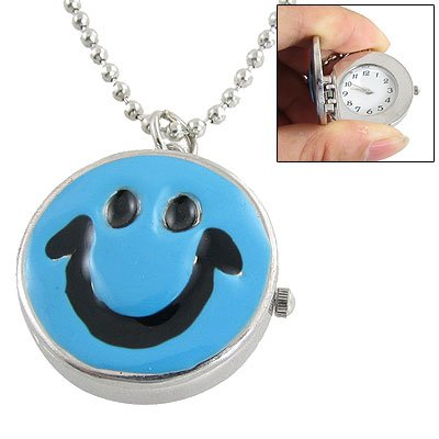 Rosallini Blue Black Smile Face Pendant Necklace Watch for Lady