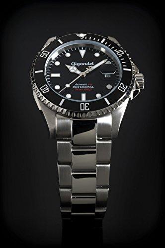 Gigandet Automatik Herren-Armbanduhr Sea Ground Taucheruhr Uhr Datum Analog Edelstahlarmband Schwarz Silber G2-002 3