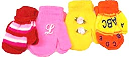 Four Pairs Magic Mittens Gloves for Infants Ages 1-4 Years One with Monogram