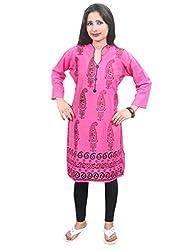 Indiatrendzs Women Kurti Cotton Paisley Print Pink Casual Long Kurta Chest: 42