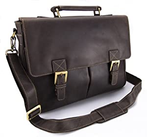 Visconti Hunter Distressed Oiled Leather Work A4 Laptop Briefcase Messenger Bag # 18716 - Oil Brown (Mud)