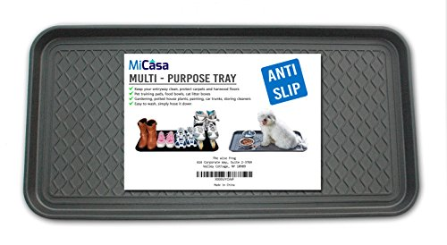"Multi-Purpose Anti-Slip Tray and Mat for Boots, Dog Food Bowls, Cat Litter, Painting, Shoes, Gardening, Laundry, Kitchen, Garage, Entryway. Protect Your Floor, Utility Tray. 30"" x 15"" x 1.2"""
