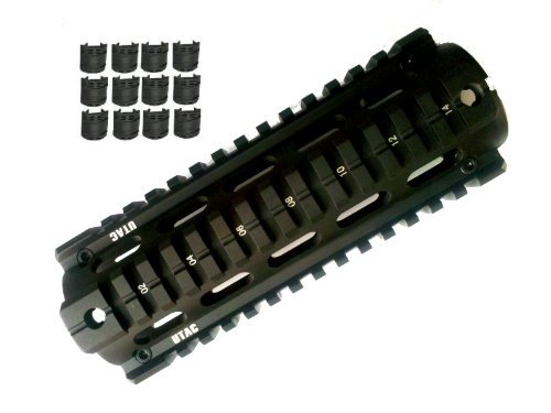 UTAC® ALUMINUM AR AR15 AR-15 M4 Rifle Carbine Length Weaver/Picatinny Quad Rail Handguard with 12 Rubber Covers