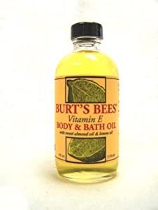 Burt's Bees Vitamin E Body & Bath Oil With Sweet Almond Oil & Lemon Oil , 4-Ounce Bottle (Pack of 3)