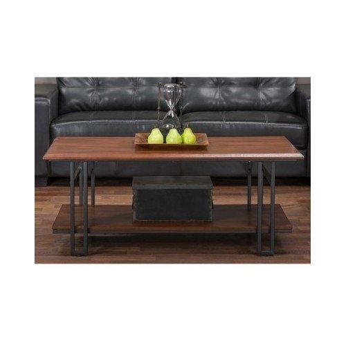 Rustic Wood Coffee Table Metal Designer Dark