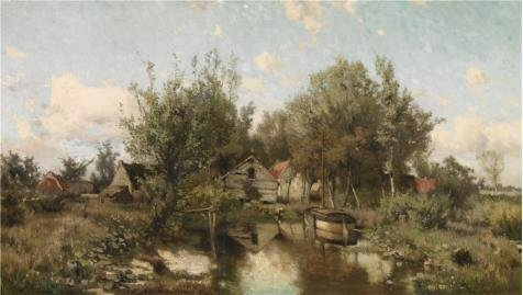 [The Perfect Effect Canvas Of Oil Painting 'Jacob Rosseels - Landscape Near Waasmunster, 19th Century' ,size: 30x53 Inch / 76x135 Cm ,this High Quality Art Decorative Prints On Canvas Is Fit For Basement Gallery Art And Home Gallery Art And] (Animals That Begin With S)