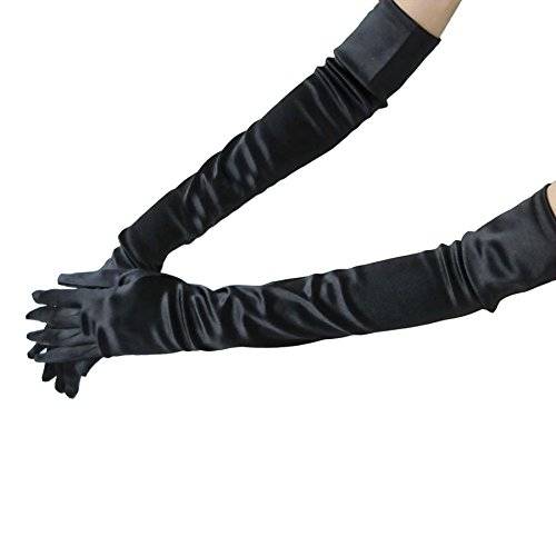 Greenery Ladies Multicolor Shiny 53cm Long Extended Elbow Spandex Stretch Satin Dress Gloves for Dinner Party, Weeding and Performance Occasions. (Black)
