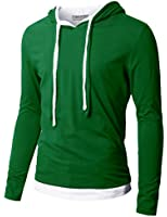Doublju Mens Hood Pull-over with Contrast String