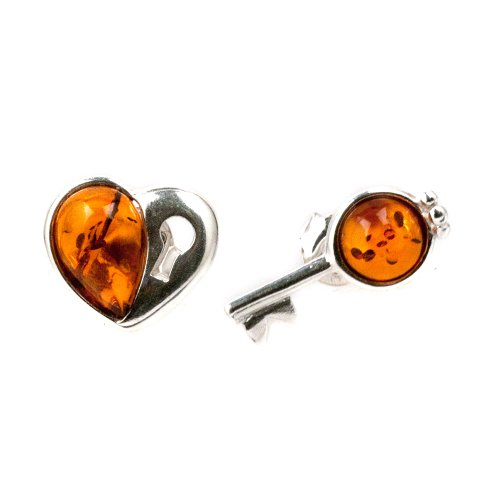 Baltic Amber Sterling Silver Small Key from Heart Stud Earrings