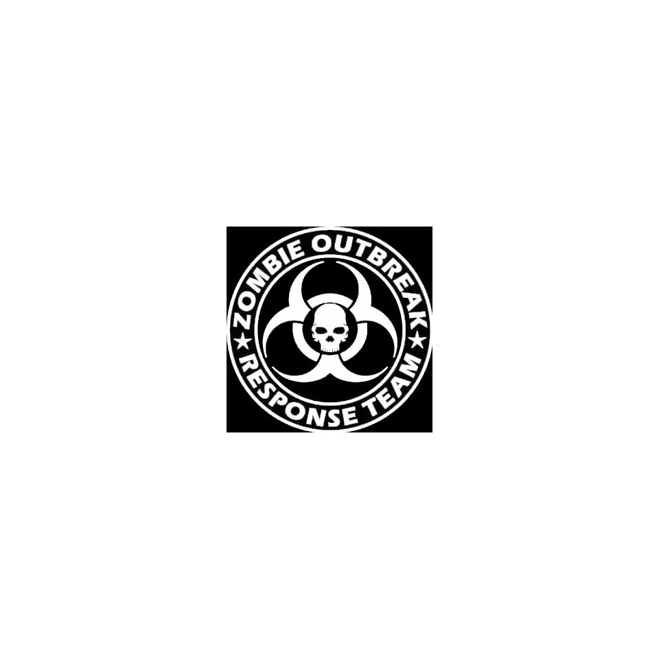Zombie Outbreak Response Team Skull Design   5 WHITE Vinyl Decal Window Sticker by Ikon Sign