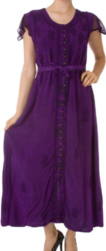 Sakkas 392BV Stonewashed Embroidered Cap Sleeve Maxi Long Dress – Purple – L/XL