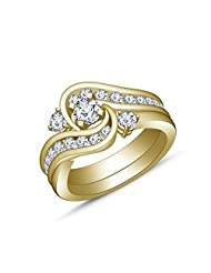 2.38 Ct White Diamond 14k Yellow Gold Over .925 Sterling Silver Bridal Set & Wedding Band Ring Size 6