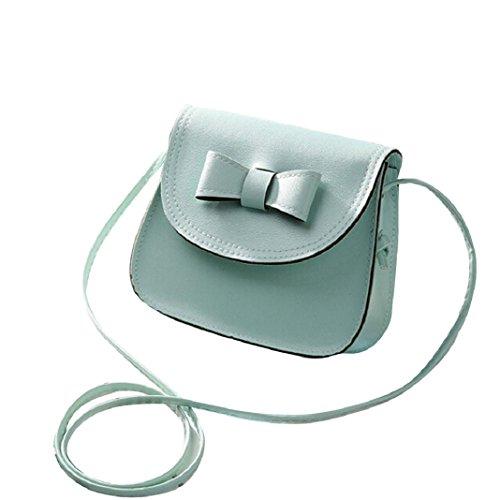 Kingko Donne bowknot Fashion borsetta di pelle singola spalla Messenger Bag Phone Bag Casual (Menta verde)