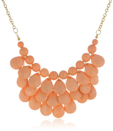 Opaque Teardrop Statement Gold-Tone Necklace, 16