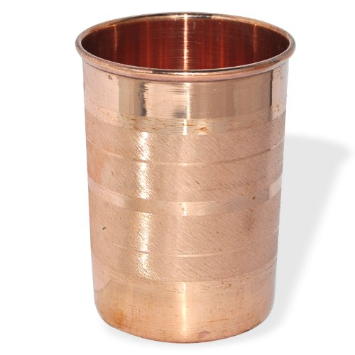 Copper Glass For Ayurvedic Health Benefits Indian Copper Utensils, Set Of 2 Glasses (Silver)
